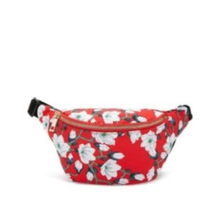 Handbags - NEW BRIGHT RED WHITE FLORAL FANNY PACK BAG OS